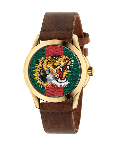 Gucci 38mm Tiger Face Watch w/ Leather Strap