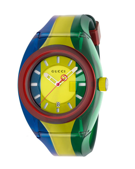 46mm Gucci Sync Sport Watch w/ Rubber Strap, Blue/Yellow