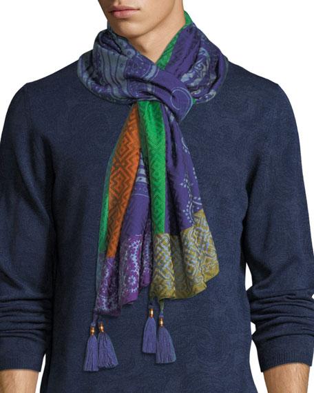 Sciarpa Tasseled Silk-Blend Scarf