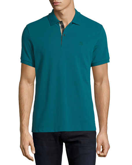 Burberry Short-Sleeve Oxford Polo Shirt, Green
