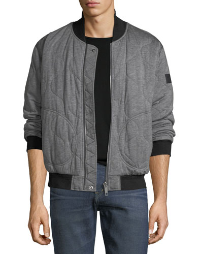 Knit Quilted Bomber Jacket w/ Nylon Sleeves