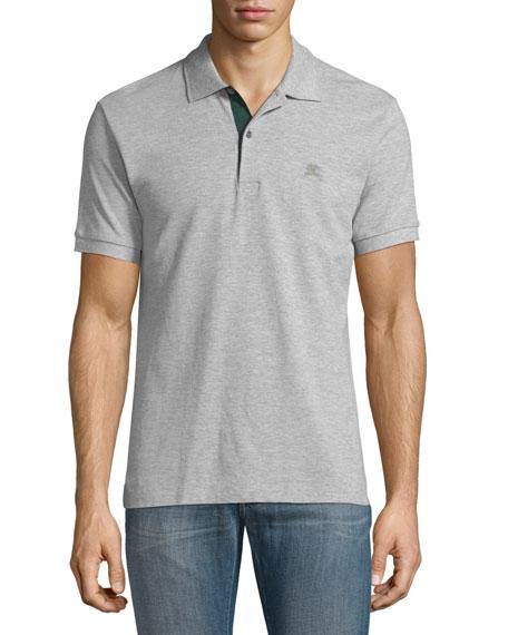 Burberry Short-Sleeve Pique Polo Shirt, Gray