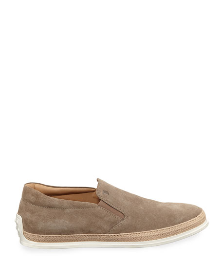 Suede Espadrille Slip-On Sneaker, Tan