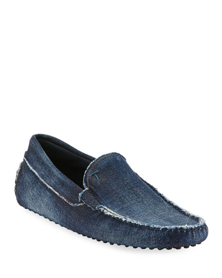 Distressed Denim Slip-On Driver