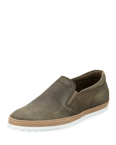 Distressed Leather Espadrille Loafer