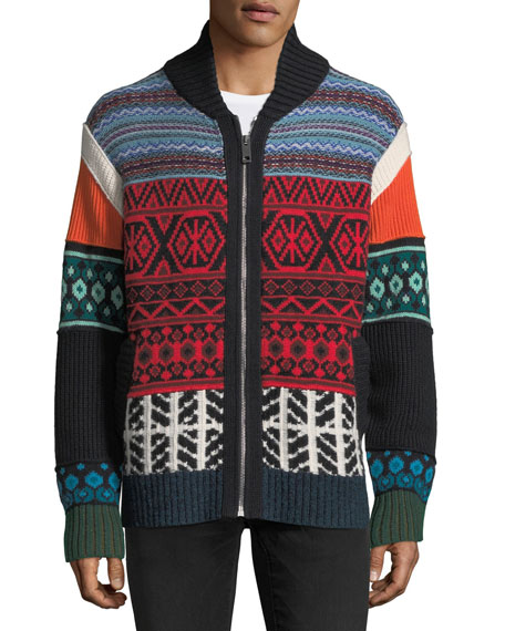 Patchwork Fair Isle Zip-Front Cardigan