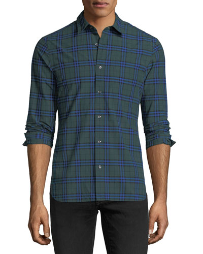 Check-Print Cotton Sport Shirt