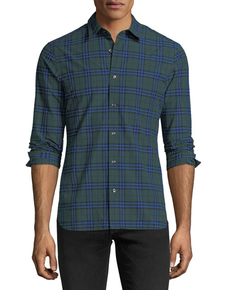 Burberry Check-Print Cotton Sport Shirt
