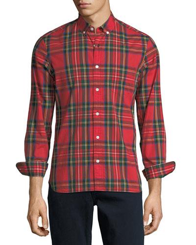 Stewart Plaid Button-Down Shirt, Red