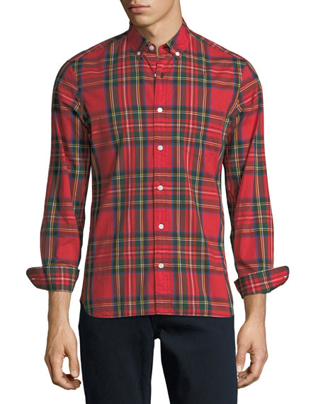 Stewart Plaid Button-Down Shirt, Red