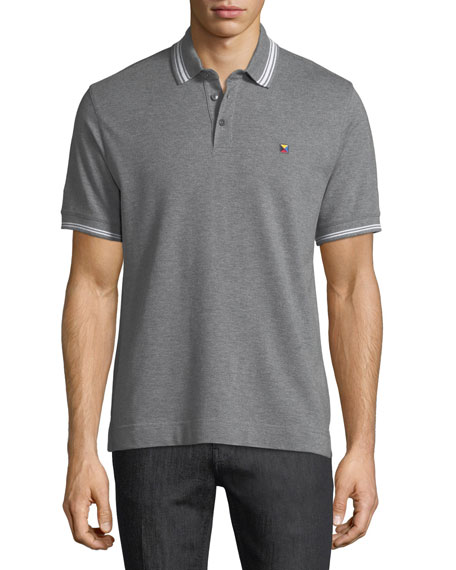Z Zegna Pique Polo Shirt with Iconic Flag