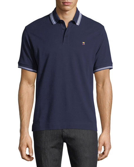 Pique Polo Shirt with Iconic Flag Logo