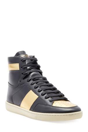 Saint Laurent Men's Metallic High-Top Sneakers