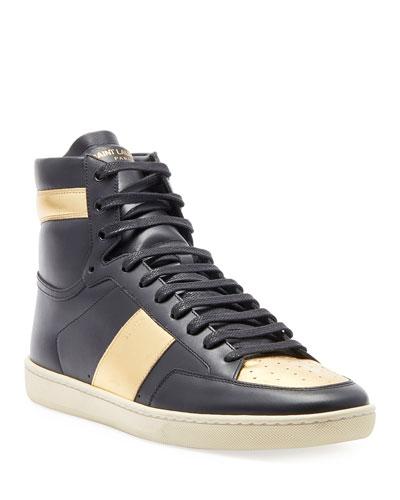 Men's Metallic High-Top Sneaker