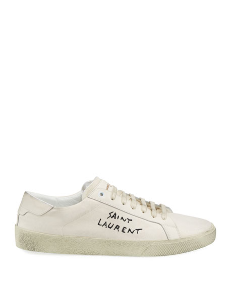 Men's Canvas Low-Top Sneakers, White