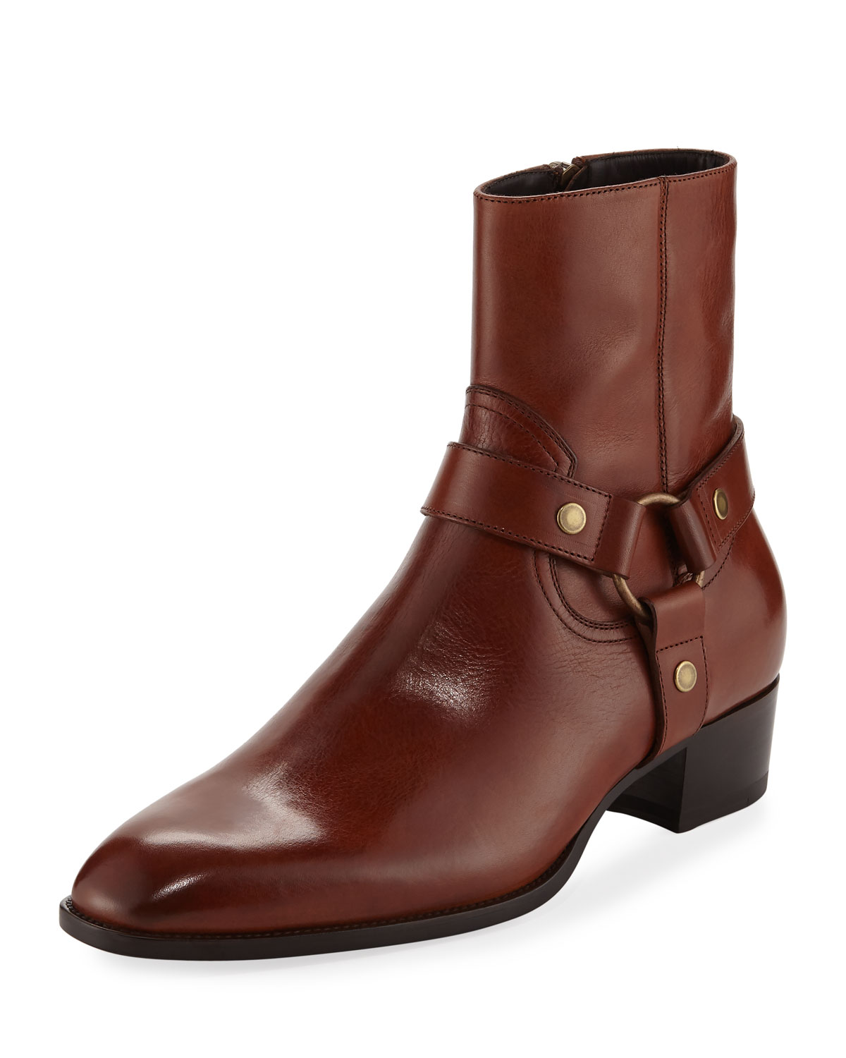67bad29e670 Saint Laurent Wyatt Leather Harness Boot | Neiman Marcus