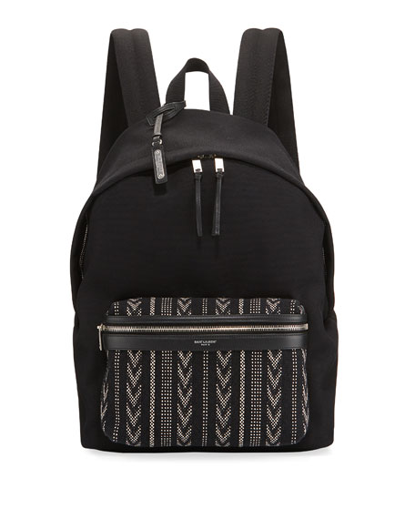 Saint Laurent Men's Nylon Backpack w/ Ikat Pocket