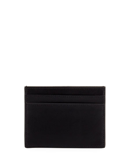 Lightning-Appliqué Leather Card Case, Black