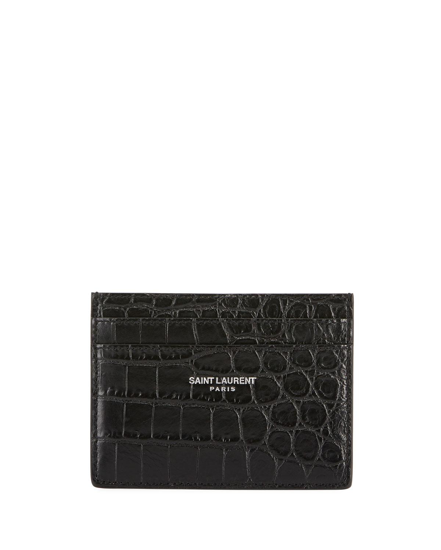 fdacb95d7534 Saint Laurent Croc-Embossed Leather Card Case