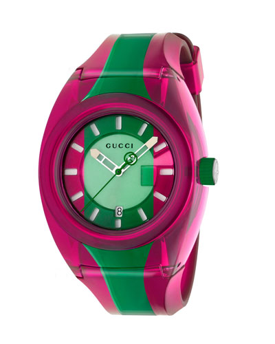 46mm Gucci Sync Sport Watch w/ Rubber Strap, Pink/Green