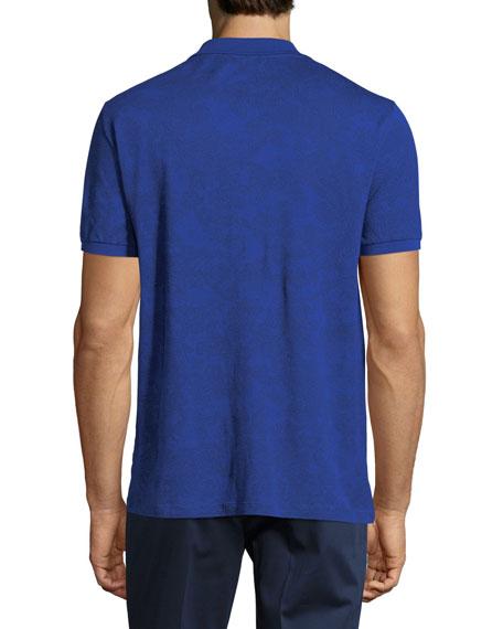 Jersey Paisley Short-Sleeve Polo Shirt, Blue Pattern