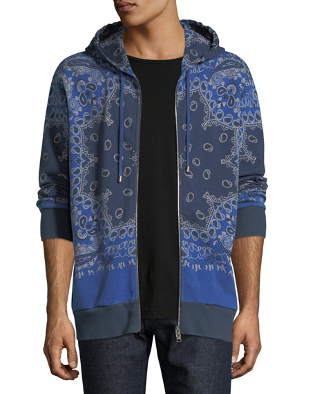 Etro Bandana-Print Zip-Up Hooded Sweatshirt