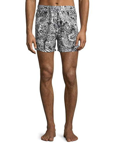 Two-Tone Paisley Swim Trunks
