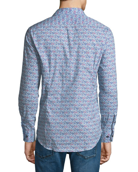 New Warrant Micro Floral-Print Shirt, Blue