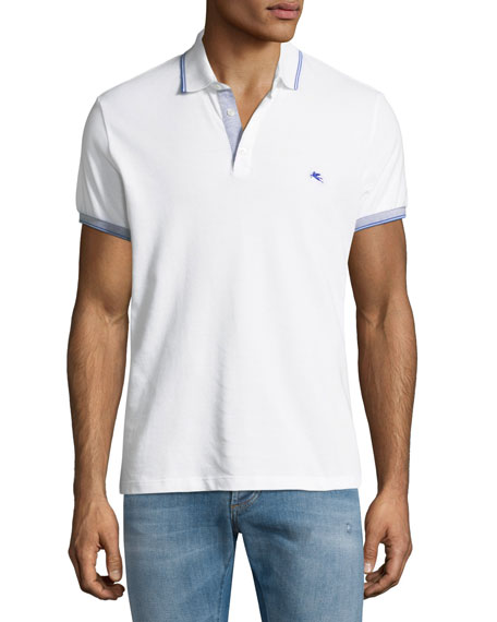 Etro Jersey Cotton Polo w/ Contrast Tipping, White