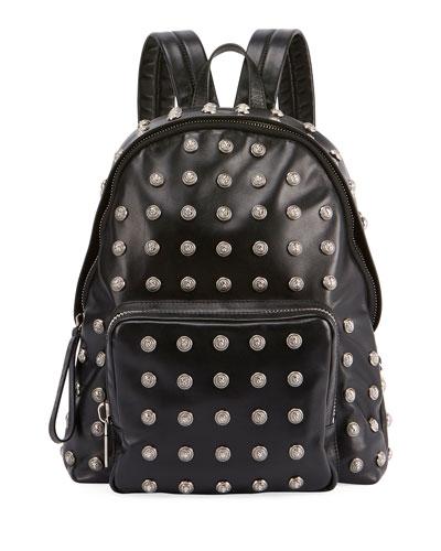 Men's Studded Leather Backpack