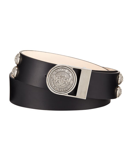 Balmain Valley Medallion-Detail Leather Belt