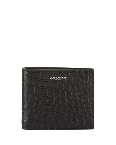 Saint Laurent Men's Croc-Embossed Leather Wallet