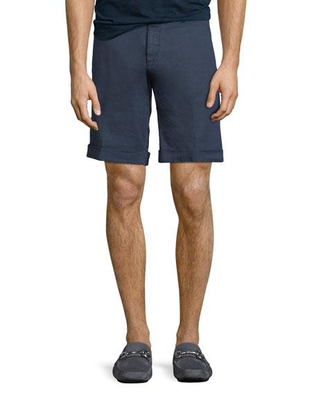 Washed Linen/Cotton Stretch Bermuda Shorts