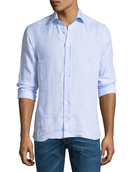 Etro New Warrant Button-Down Linen Shirt, Blue