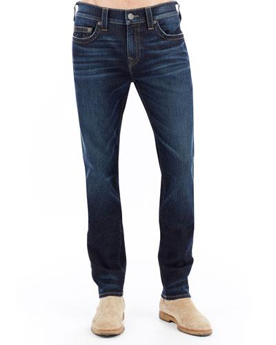 Rocco Slim-Straight Denim Jeans, Dark Indigo Lux