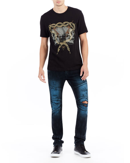 Rocco Distressed Moto Skinny Jeans, EJID Blue Blaze