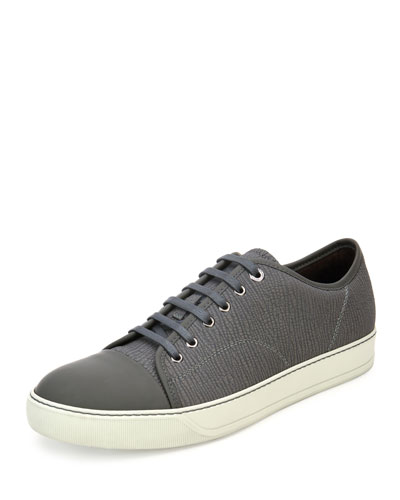 Textured Leather Low-Top Sneaker
