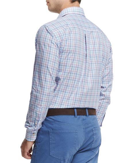 Tattersall Long-Sleeve Sport Shirt, White