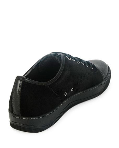 Men's Cap-Toe Leather Low-Top Sneaker, Black