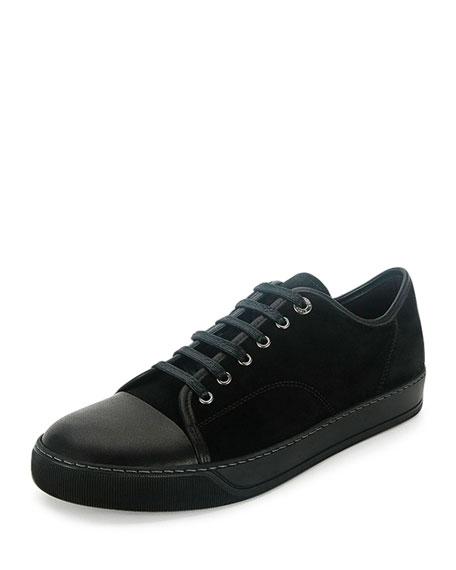 Lanvin Men's Cap-Toe Leather Low-Top Sneaker, Black