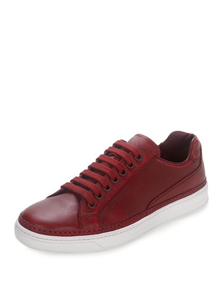 Saffiano Leather Low-Top Sneaker