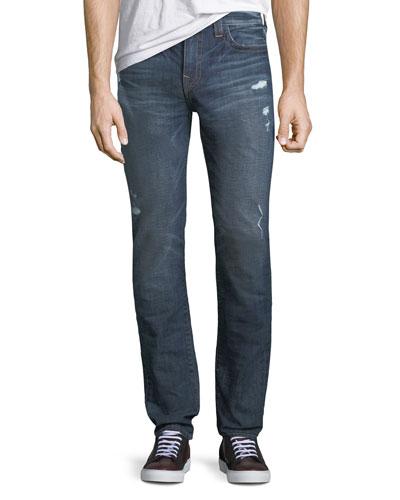 Rocco Distressed Skinny Jeans, Dark Wash