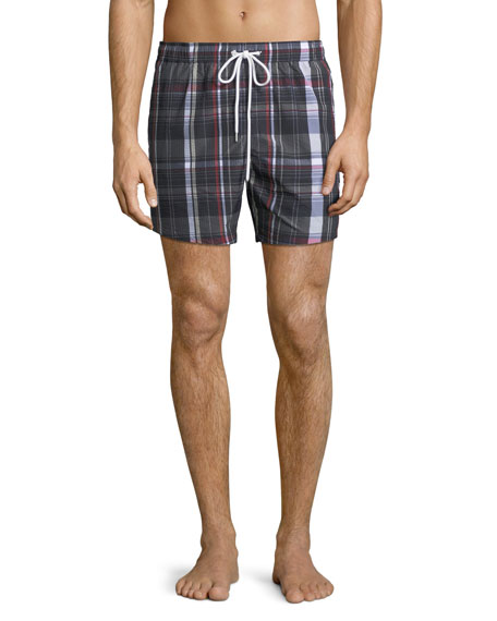 Moncler Gamme Bleu Men's Classic Drawstring Plaid Seersucker