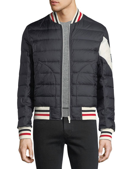 Striped-Trim Quilted Bomber Jacket