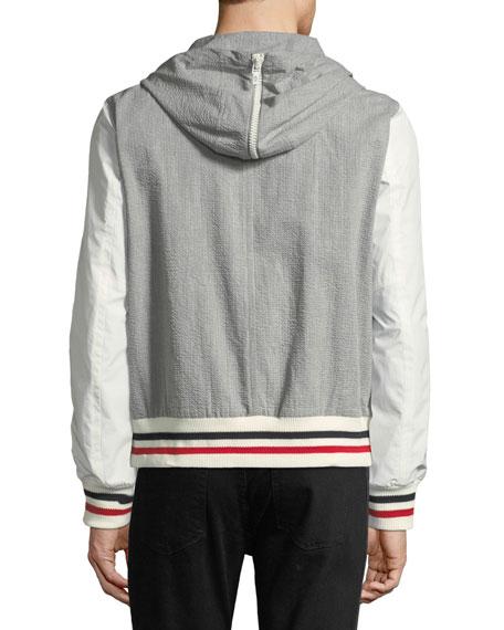 Seersucker Cotton Hooded Jacket