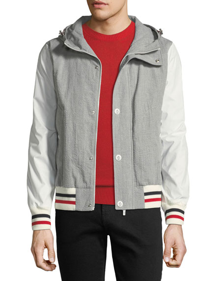 Moncler Gamme Bleu Seersucker Cotton Hooded Jacket