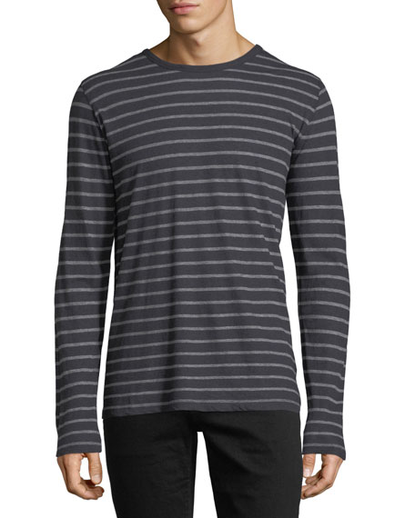 Cotton/Cashmere Crewneck Long-Sleeve Striped T-Shirt