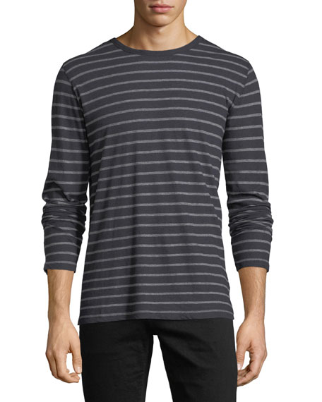 Majestic Cotton/Cashmere Crewneck Long-Sleeve Striped T-Shirt