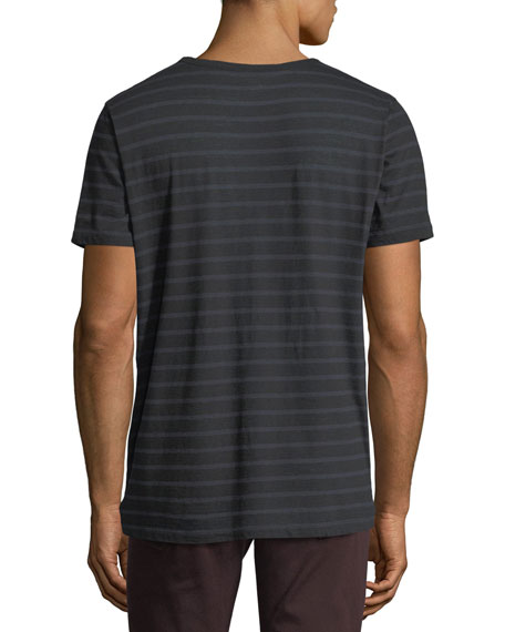 Cotton/Cashmere Crewneck Striped T-Shirt