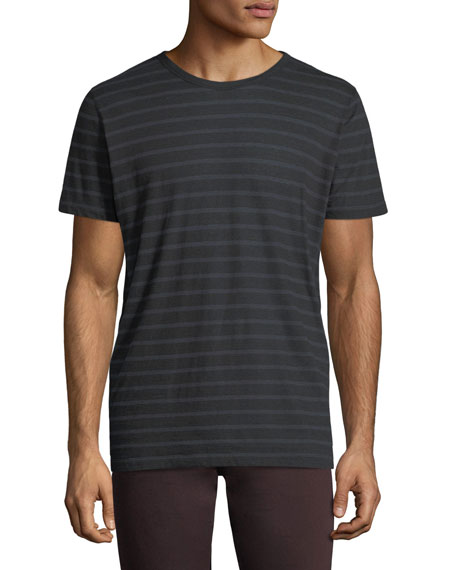 Majestic Cotton/Cashmere Crewneck Striped T-Shirt
